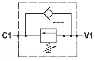 Valvola di sequenza ad azione diretta, montaggio in linea