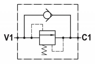 Valvola di sequenza ad azione diretta, taratura fissa, montaggio in linea