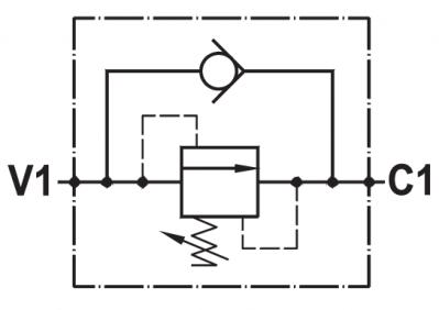 Valvola di sequenza ad azione diretta, taratura regolabile, montaggio in linea