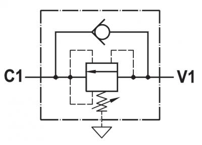 Valvola di sequenza bilanciata ad azione diretta, taratura regolabile, montaggio in linea