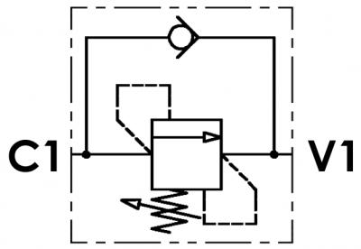 Valvola di sequenza ad area differenziale con ritorno libero, a cartuccia