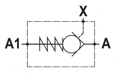 Valvola di blocco pilotata semplice, montaggio in linea
