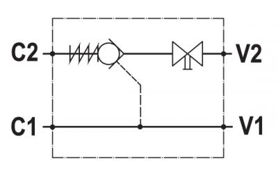 Valvola di blocco pilotata semplice, montaggio in linea, rubinetto, versione sinistra