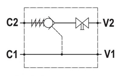 Valvola di blocco pilotata semplice, montaggio in linea, rubinetto, versione destra