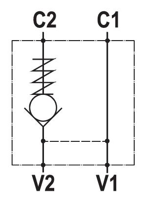 Valvola di blocco pilotata semplice, montaggio a flangia
