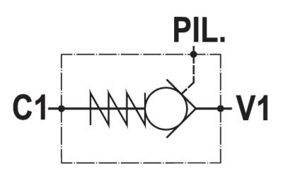 Single pilot operated check valve, cartridge version