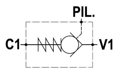 Valvola di blocco pilotata semplice, versione cartuccia, cavità SAE