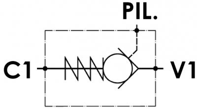 Valvola di blocco pilotata semplice, versione cartuccia, cavità metrica