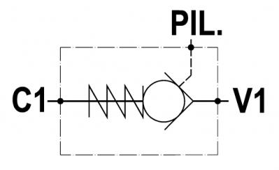 Valvola di blocco pilotata, versione cartuccia, cavità GAS