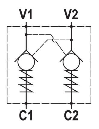 Valvola di blocco pilotata doppia, montaggio in linea