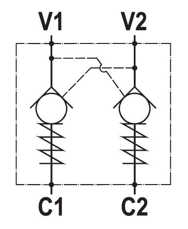 Valvola di blocco pilotata doppia, montaggio a flangia