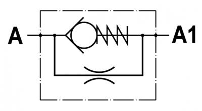 Valvola di strozzamento unidirezionale fissa, versione maschio-femmina