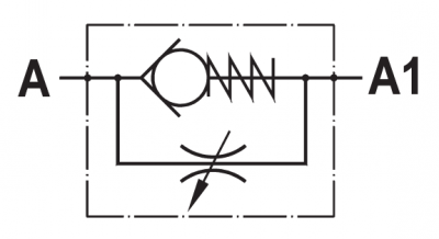 Valvola regolatrice di flusso unidirezionale, tipo a manicotto