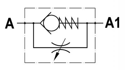 Valvola regolatrice di flusso unidirezionale, versione a cartuccia, cavità SAE