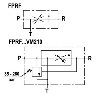 Regolatore di flusso a 3 vie compensato, con eccedenza a scarico, montaggio in linea