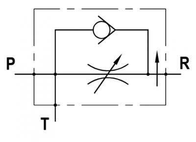 Regolatore di flusso a 3 vie compensato, con eccedenza a scarico e ritorno libero, montaggio in linea