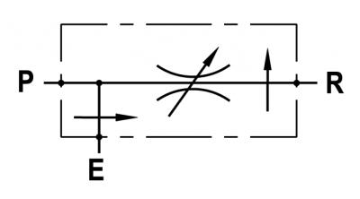 Regolatore di flusso a 3 vie compensato, con eccedenza in pressione, montaggio in linea