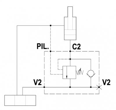 Valvola overcenter singola, montaggio a flangia