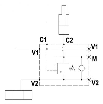 Valvola overcenter singola, montaggio con C1-C2 flangiate, attacco manometro