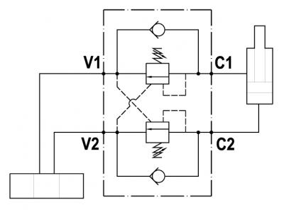 Valvola overcenter doppia, montaggio in linea, corpo in alluminio