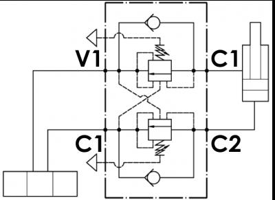 Valvola overcenter doppia, montaggio a flangia singolo, attacco manometro