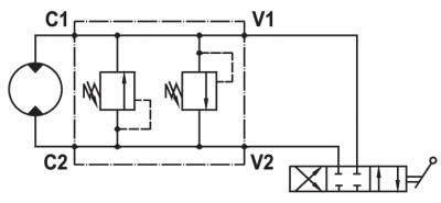 "Dual cross main pressure relief valve, flangeable on Danfoss motors ""OMP/OMR"" series"