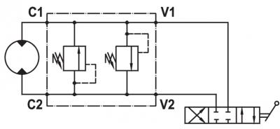 "Dual cross main pressure relief valve, flangeable on Samhydraulik motors ""AG/BG/AR/BR/ARSR/MB"" series"