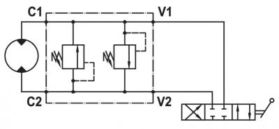 "Valvola di massima doppia incrociata, flangiabile su motori Danfoss serie ""OMP/R/H"""