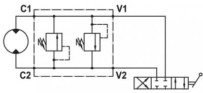 "Dual cross main pressure relief valve, flangeable on Danfoss motors ""OMT"" series"