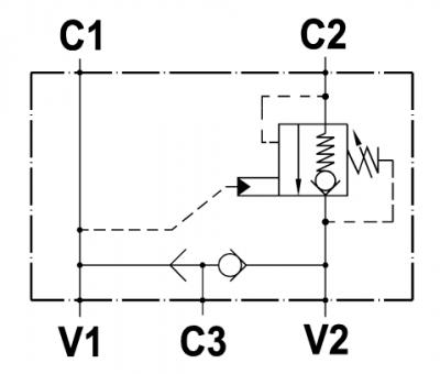 """Valvola overcenter singola, flangiabile su motori Rexroth serie """"A2FE 45-56-63"""", con sblocco freno"""