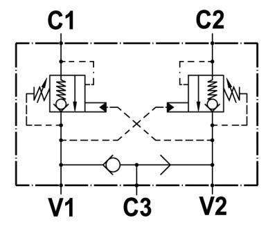 """Valvola overcenter doppia incrociata, flangiabile su motori Oil-drive serie """"MGL/MGT"""", con sblocco freno e valvola antiurto opzionale"""