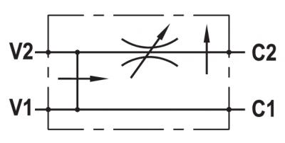 Regolatore di flusso a 3 vie compensato, con eccedenza a scarico, flangiabile su motori Danfoss OMT