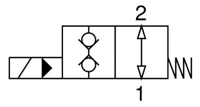 Valvola elettrica 2 vie, pilotata, doppia tenuta, normalmente aperta